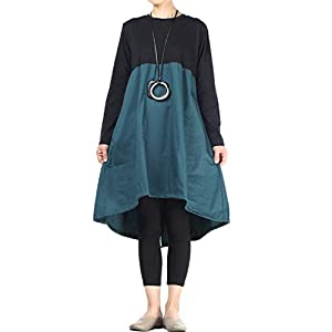 Vogstyle Donna Maniche Lunghe A-Line Casual Baggy Shirt Vestito