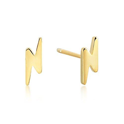 Lightning Bolt Stud Earrings - 18k Gold over Sterling Silver - Dainty, Minimalist Jewelry