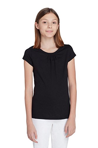 French Toast Little Girls Short Sleeve Crew Neck Tee, black, 6 ()