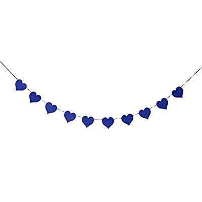 FENICAL Love Heart Shaped Bunting Banner Garland Banner for Wedding Party Home Decoration (Dark Blue)