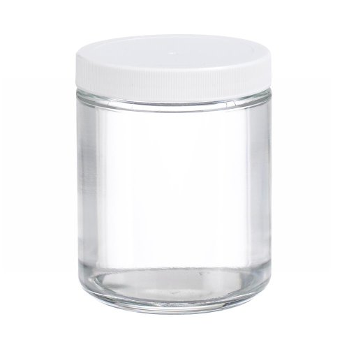 Wheaton W216905 Clear Glass 8oz Straight Sided Jar, with 70-400 White Polypropylene Poly-Vinyl Lined Screw Cap (Case of 12)