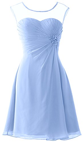 MACloth Women Short Bridesmaid Dress Cap Sleeve Cocktail Party Formal Gown (20w, Sky Blue)