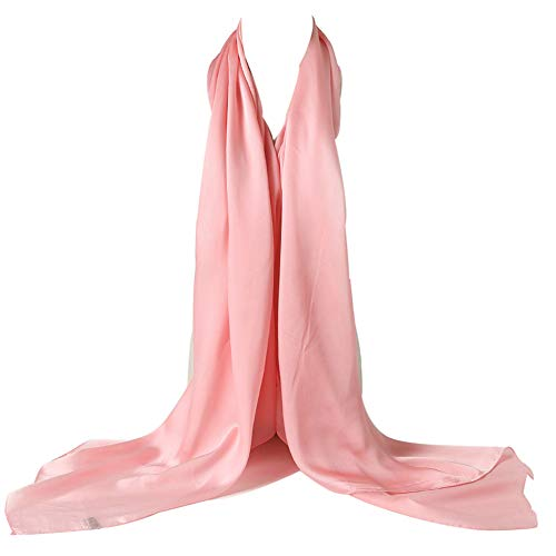 (Bellonesc Silk Scarf 100% silk Long Lightweight Sunscreen Shawls for Women (light pink))