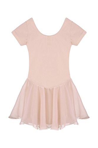 Arshiner Girls' Ruffle Sleeve Skirted Leotard,Ballet pink,140