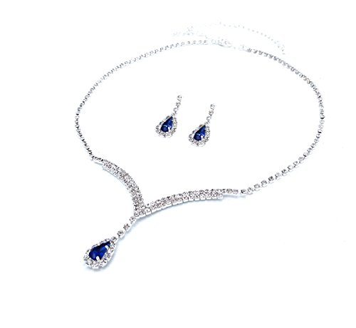 UDORA Necklace Earrings Bridesmaid Jewelry Sets Wedding Party (Blue) - Blue Bridal Jewelry