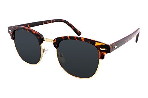 FEISEDY Retro Polarized Half Frame Sunglasses Men Women Tortoises - Tortoise Sunglasses Frame