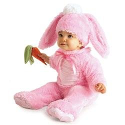 Pink Bunny Costume with Carrot Rattle - Rubies (0-6 (Baby Girl Bunny Costume)