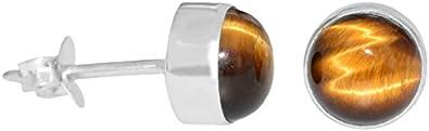ERCE ojo de tigre piedra semipreciosa pendientes redondos, plata de ley 925