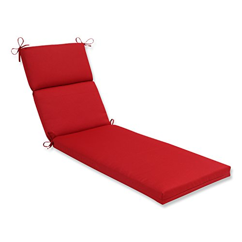 Pillow Perfect Indoor/Outdoor Red Solid Chaise Lounge Cushion Red Outdoor Chaise