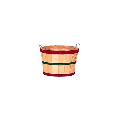 Texas Basket Co. Natural Half Bushel Basket w/ Red & Green Hoops