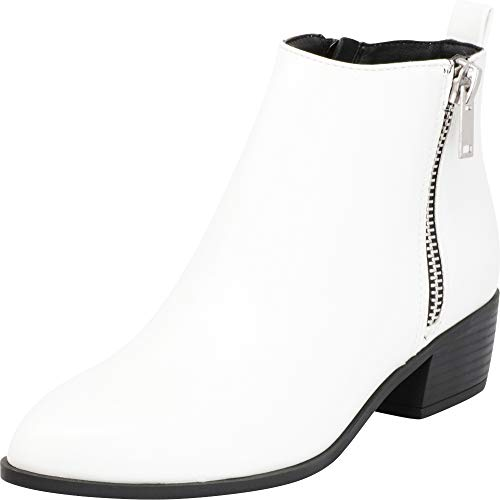 Cambridge Select Women's Pointed Toe Side Zip Chunky Stacked Block Heel Ankle Bootie,9 B(M) US,White PU