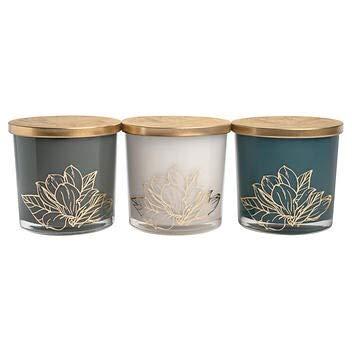 Bellevue Luxury Soy Blend Candle Modern 3-Piece Set Luxury Candles Fragrances: (1) Vanilla & Chai, (1) Fresh Fig & Amber, (1) White Aspen & Juniper