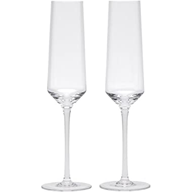 Crystal Champagne Flutes by Bella Vino - Beautifully Designed Champagne Glasses - Made from 100% Lead Free Premium Quality Crystal Glass - Perfect for any special event or Champaign - Cristal