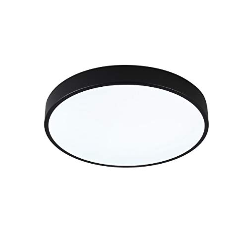 (SAISHUO Round LED Flush Mount,11.8in 18W 6000K(Cold White) Ultra-Thin Ceiling Light Fixture for Bedroom, Living Room, Hallway, Foyer, Black)