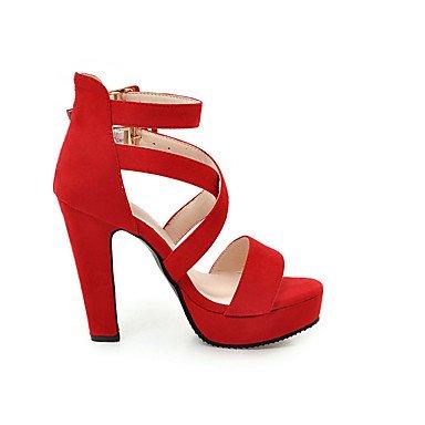 LvYuan Mujer-Tacón Robusto-Confort-Sandalias-Oficina y Trabajo Vestido Informal-Semicuero-Negro Rojo Gris Red