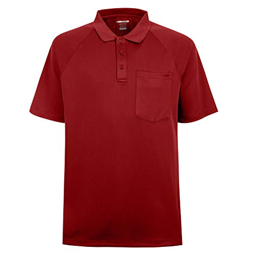 Men's Short Sleeve Moisture Wicking Performance Golf Polo Shirt, Side Blocked, Tall Sizes: M-7XL (Red, M) (Polo Sport Clothing)