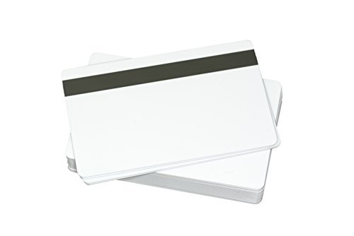 100 CR80 30Mil Blank White PVC Plastic Credit/Gift/Photo ID Badge Cards with 5/16'' HiCo Magnetic Stripe by Plastek Cards