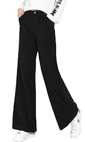 Lutratocro Women Vintage Wide Leg High Waist Casual Corduroy Flare Palazzo Pants Black M (Flare Cotton Corduroys)