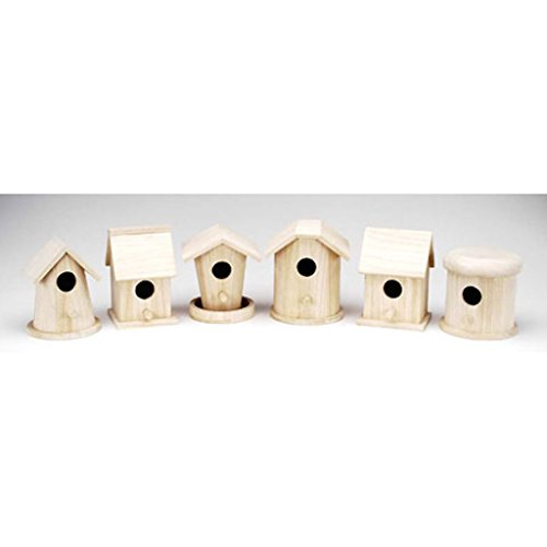 Darice 9180-10 Value Promo Wooden Finch Birdhouse Assorted Styles x 1 Piece 5-7 Inches Each (Bird Wood Unfinished)