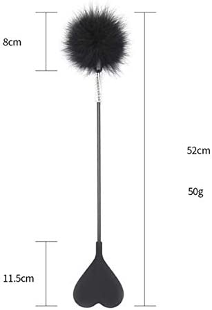 SYsweetheart Black Silica Gel Heart-Shaped Feather Game Interactive Baton 20.4In