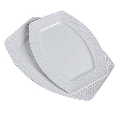 SOLECASA 12+14-inch  Oblong Shape White Porcelain/Ceramic Dinner Serving Dishes/Plate/Platter,Fish Serving Plate