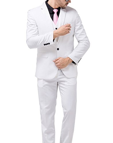 GEORGE BRIDE Men's Casual Blazer Party Suit Groomsman's Suits 11 Color To Choose,L,White (White Blazer Suit For Men)