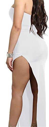 Cruiize Womens Fente Haute De Sexy Mini Robe Club Dos Nu Épaule Blanc