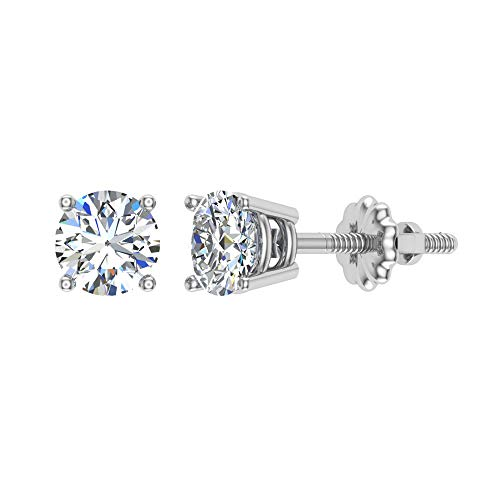 3/8 ct tw G VS1 Natural Round Diamond Studs 14K Gold Screw Back ()