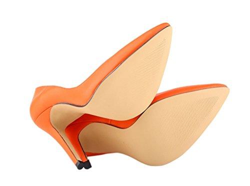 Women's Fashion Sexy Shallow Mouth Pointed Toe Slip On High Heeled Pumps Dress Shoes orange soft pu 8A0F6E