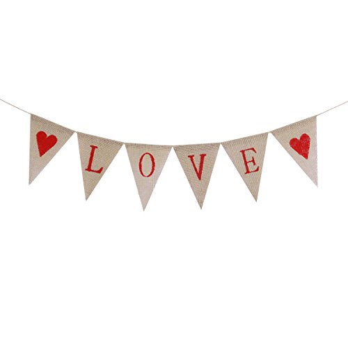 Tinksky LOVE Letters and Hearts Valentine's Day Bunting Banners Rustic Jute Burlap Pennant Flags Vintage Wedding Garland -