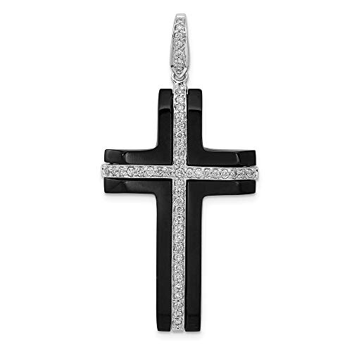 14k White Gold Diamond & Onyx Cross Pendant, 14 kt White Gold