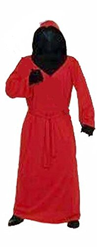 Mesh Face Robe - Hidden Mesh Face Robe in Red or Purple with Black Gloves (Red)