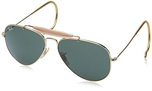 Ray Ban Aviator Wrap Sunglasses - Ray-Ban RB3030 Outdoorsman I Aviator Sunglasses, Gold/Green, 58 mm