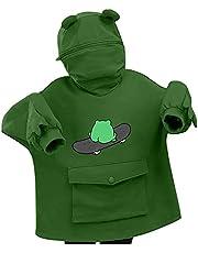 Alwayswin Huvtröja dam huvtröja söt groda design pullover sömmar tredimensionell väska tröja med huva mode lös huva överdimensionerad huvtröja tröja med huva damtröja