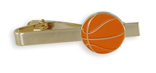 Bar Basketball - Basketball Enamel Cufflink + Lapel Pin + Tie Bar (Gold Tie Bar)