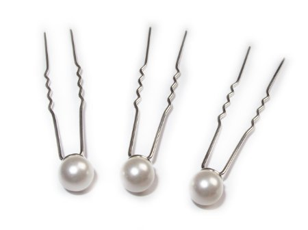 10 Fake Faux Synthetic White Pearl Wedding Bridal Bride Prom Hair Bobby Pin by Boolavard® TM Boolevard Cosmetics Limited