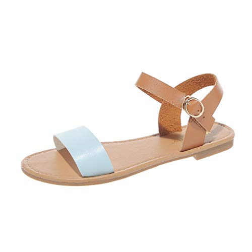 Toimothcn Summer Beach Sandals Women's Buckle Ankle Strap Roma Shoes Casual Peep Toe Flat Sandals (Blue,US:7) (Sexy Tan 3' Heel)