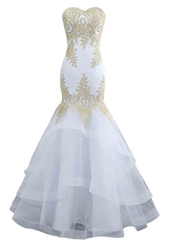 Changuan Mermaid Evening Dress for Women Backless Formal Long Prom Dresses with Embroidery White-10