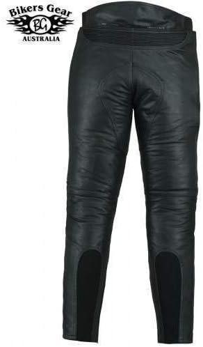 Skintan Herren Echtes Leder Motorradhose mit CE Protektoren Schwarz