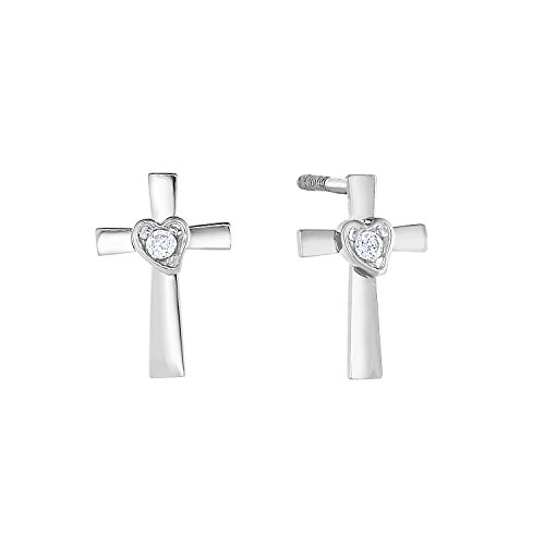14k White Gold Solitaire CZ Tiny Cross & Heart Stud Earrings for Girls with Secure Screw-backs