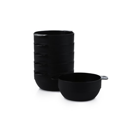 Amuse- Unbreakable & Stackable Bowls < Dessert, Cereal or Ice Cream > - 6 pcs- 16.9 oz (Black)