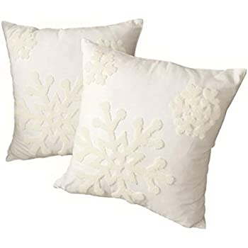 Afirmly 18x18,Cotton Christmas Blessing Throw Pillow Cover for Bed Sofa Cushion Car Snowflake Embroideried Pillowcases,1pair White