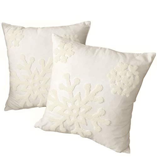 Afirmly 18x18,Cotton Christmas Blessing Throw Pillow Cover for Bed Sofa Cushion Car Snowflake Embroideried Pillowcases ,1pair White (Christmas Cushions)