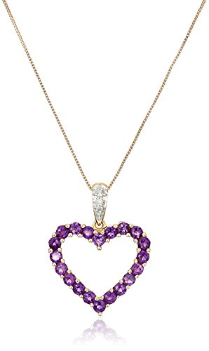 """10k Yellow Gold Heart Shaped Amethyst Pendant with Diamond-Accent, 18"""""""