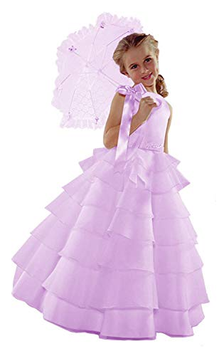 Southern Belle Costume For Girls (ST244 Flower Girl Wedding Layers Sleeveless Dress Baby to Teen (12,)