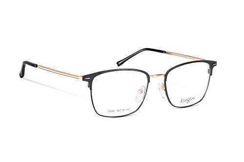 EyeGlow Rectangular Eyeglasses Frame Prescription Glasses Frame Double Color Plating 7501 Ultra Lightweight 17.6g (Golden, clear demo - Frames Eyeglass Rectangular
