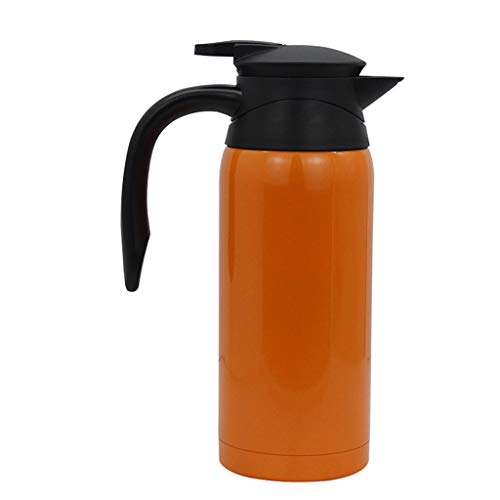 Xqr Car Electric Kettle Insulation Cup 12V-24V Voltage Intelligent Identification Car Boiling Water Cup Double Stainless Steel Car Electric Hot Water Cup Car Big Truck are Available 800Ml,Orange