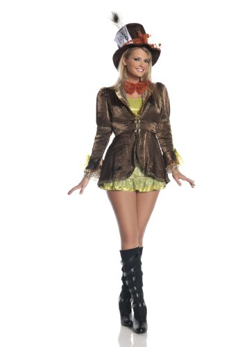 Hollywood Plus Size Costumes (Mystery House Plus Size Mad Hatter Costume, Brown, 3X)
