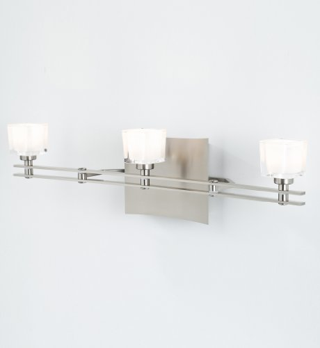 Holtkoetter 5583 SN G5012 Ludwig Series, Halogen Low-Voltage 3-Light Wall Sconce, Satin Nickel with Krystall Square ()