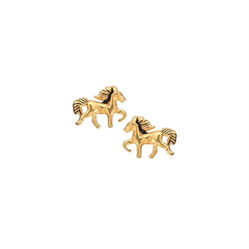 Gold Horse Stud Earrings in 14k Gold Plated Sterling Silver for Teen (14k Gold Horse)